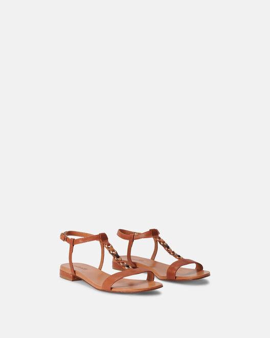 Sandale plate - Massiva, CUIR MARRON