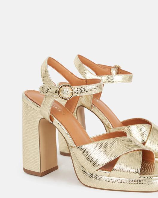 Sandale à talon - Carelly, PLATINE