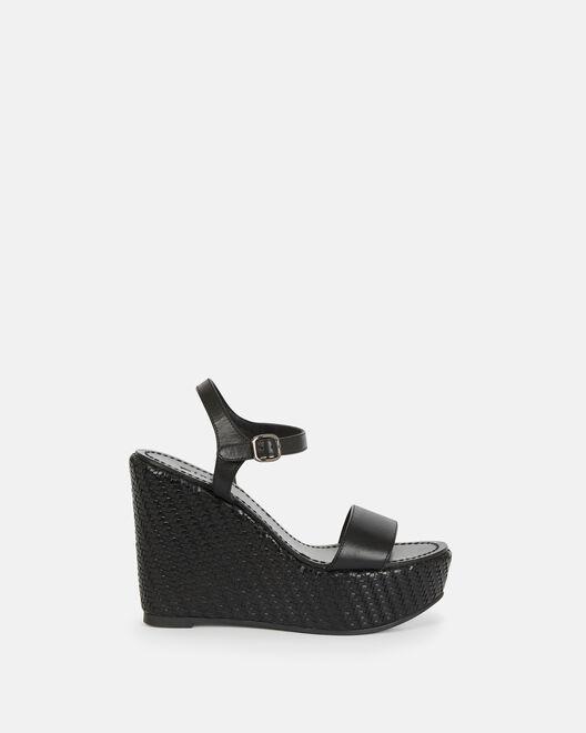 Sandale compensée - Cellanie, NOIR