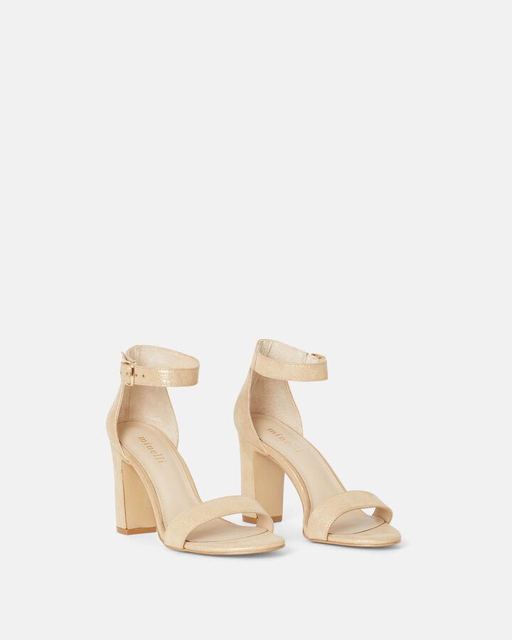 Sandale à talon- Benigne, PLATINE