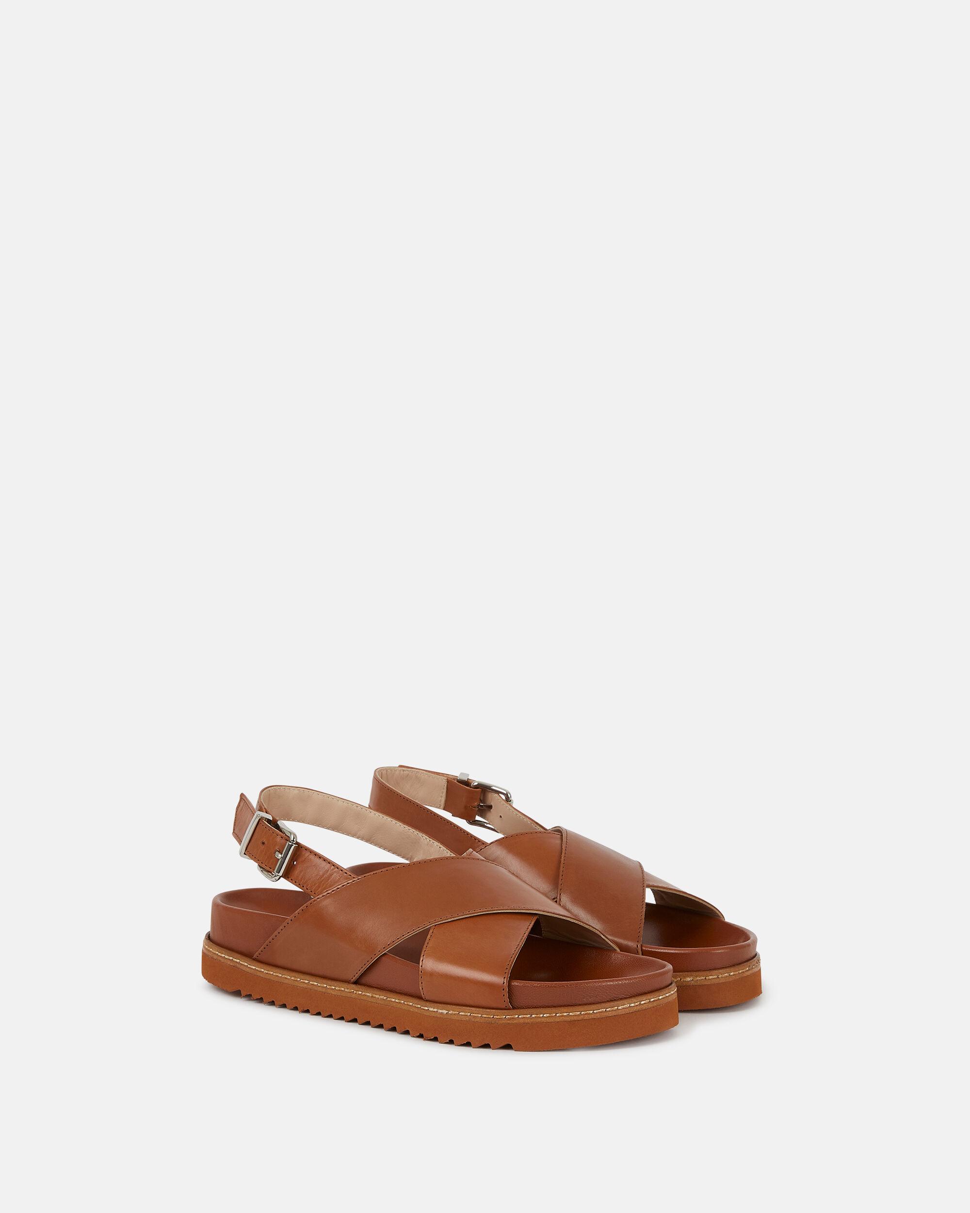 Sandale plate Norane marron Sandales plates CUIR VEAU