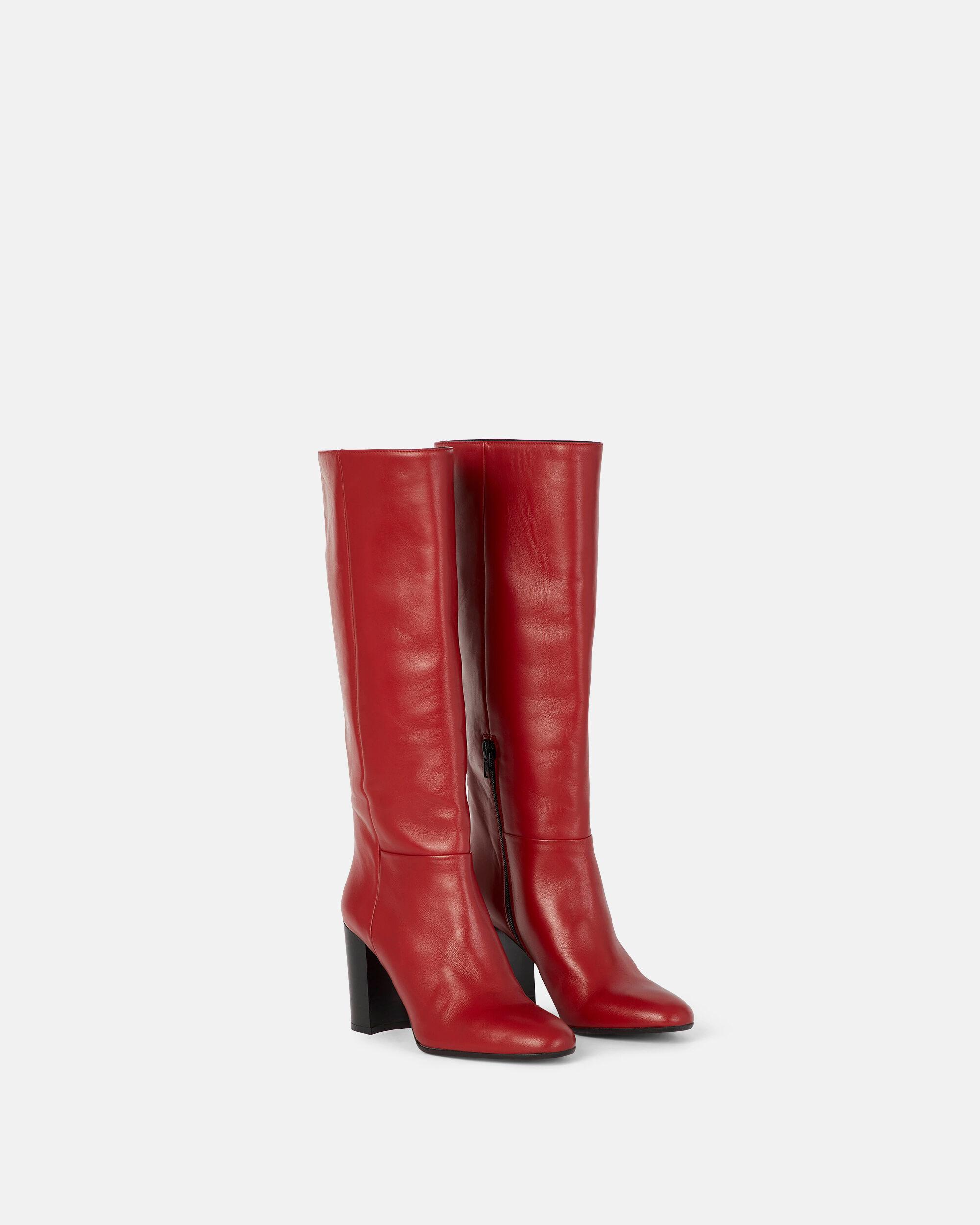 bottes cuir rouge homme